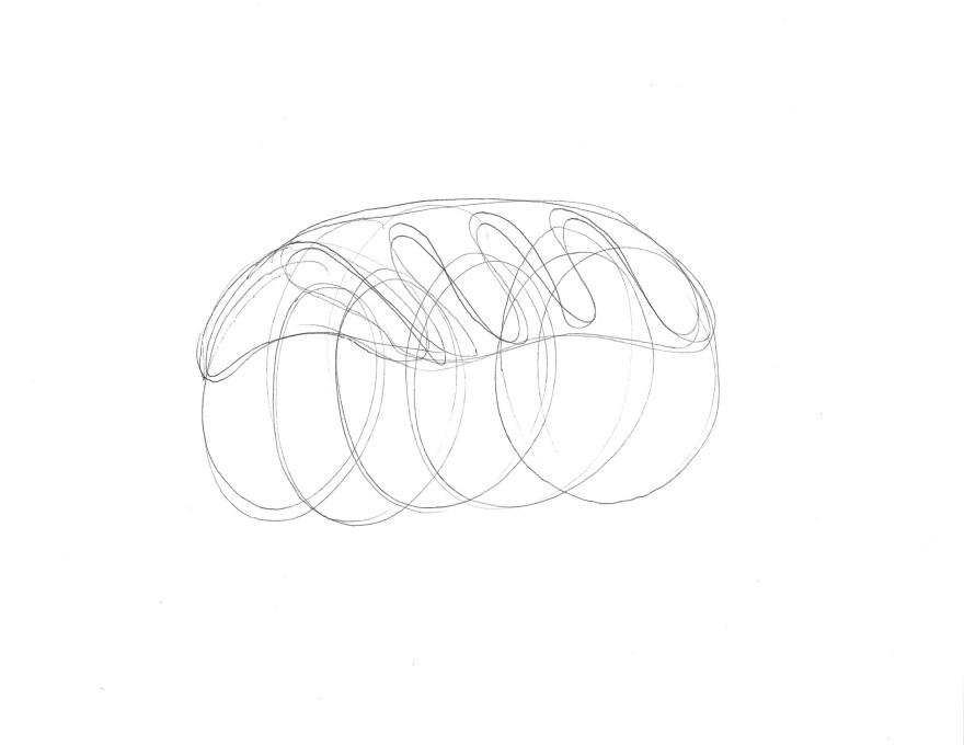 Untitled (inflatable house, zip ties, blower) sketch